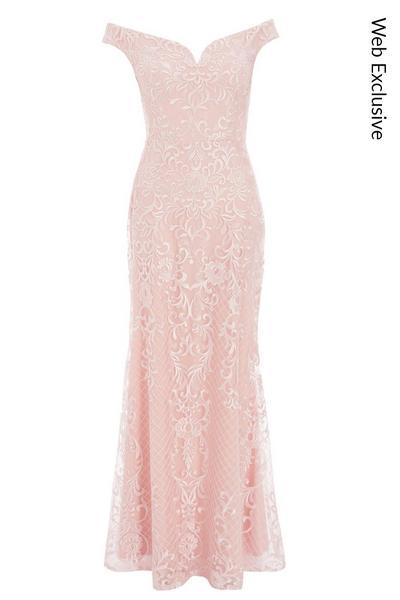 Nude Lace Bardot Maxi Dress